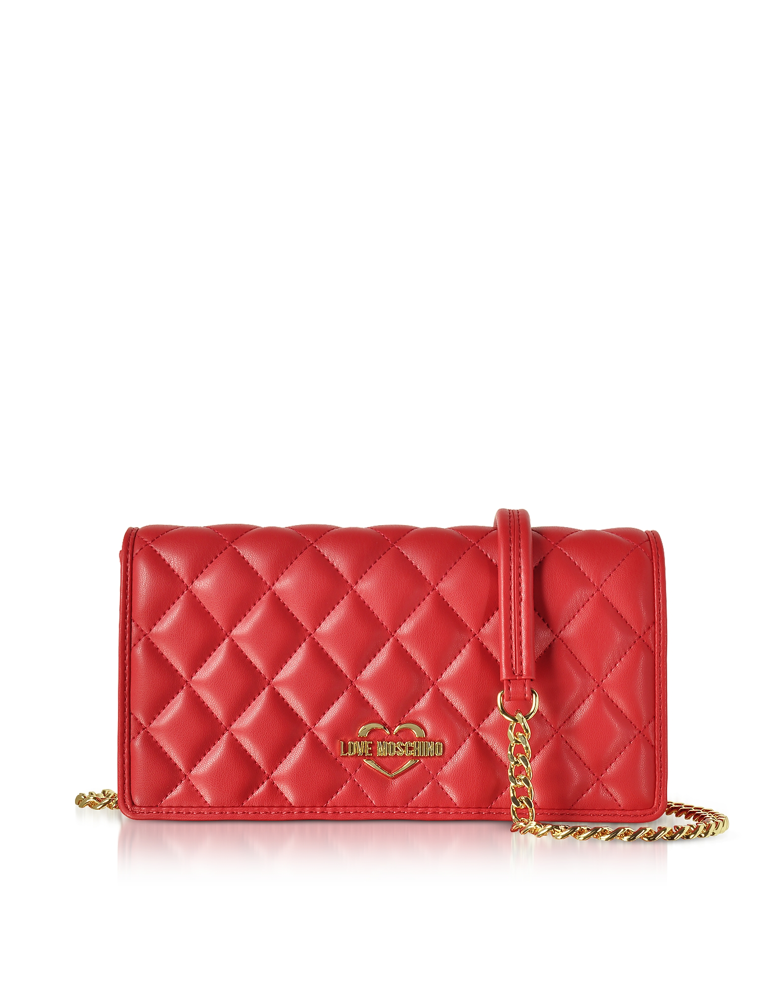 Love Moschino Handbags, Red Superquilted Eco-Leather Clutch w/Shoulder Strap