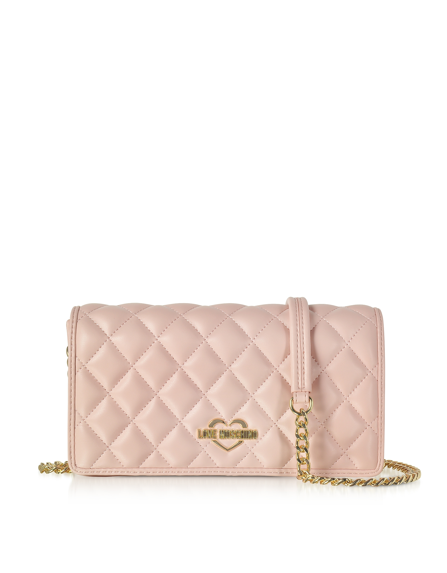 Love Moschino Handbags, Pink Superquilted Eco-Leather Clutch w/Shoulder Strap