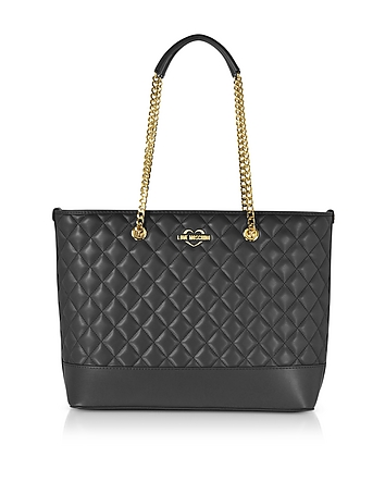Black Superquilted Eco-Leather Tote Bag