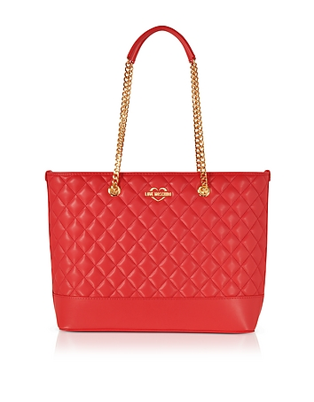 Red Superquilted Eco-Leather Tote Bag