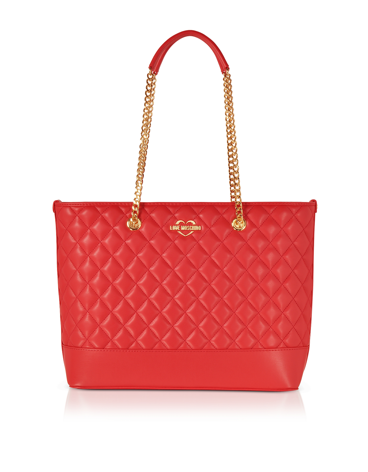 Love Moschino Handbags, Red Superquilted Eco-Leather Tote Bag