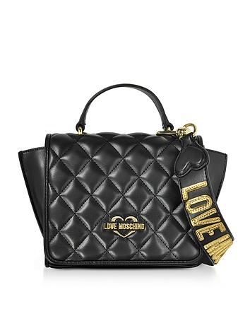 Black Superquilted Eco-Leather Small Shoulder Bag