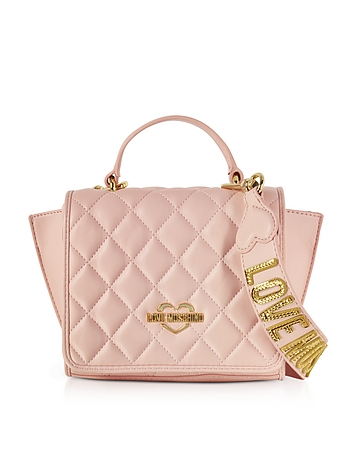 Pink Superquilted Eco-Leather Small Shoulder Bag