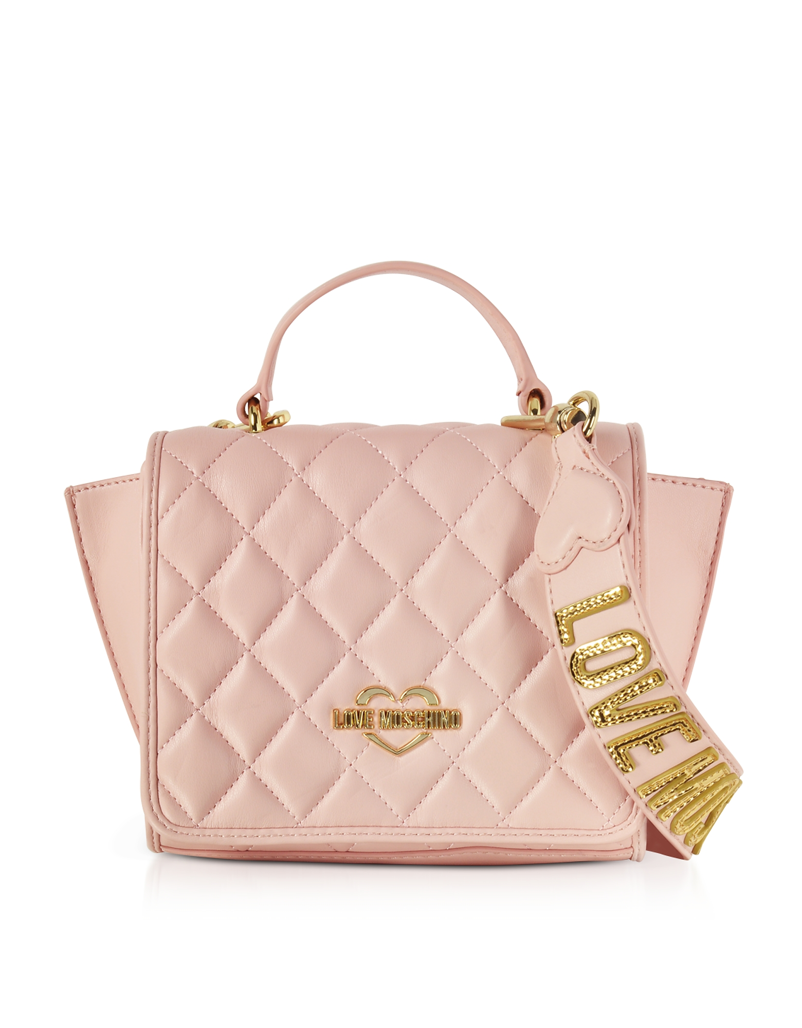 Love Moschino Handbags, Pink Superquilted Eco-Leather Small Shoulder Bag