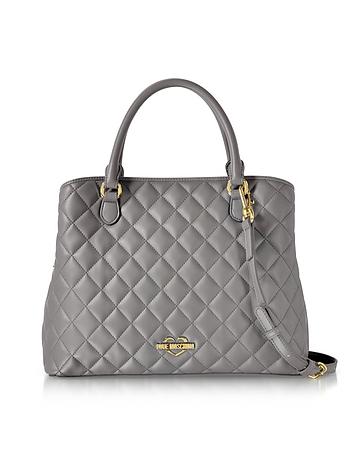 Grey Superquilted Eco-Leather Satchel Bag