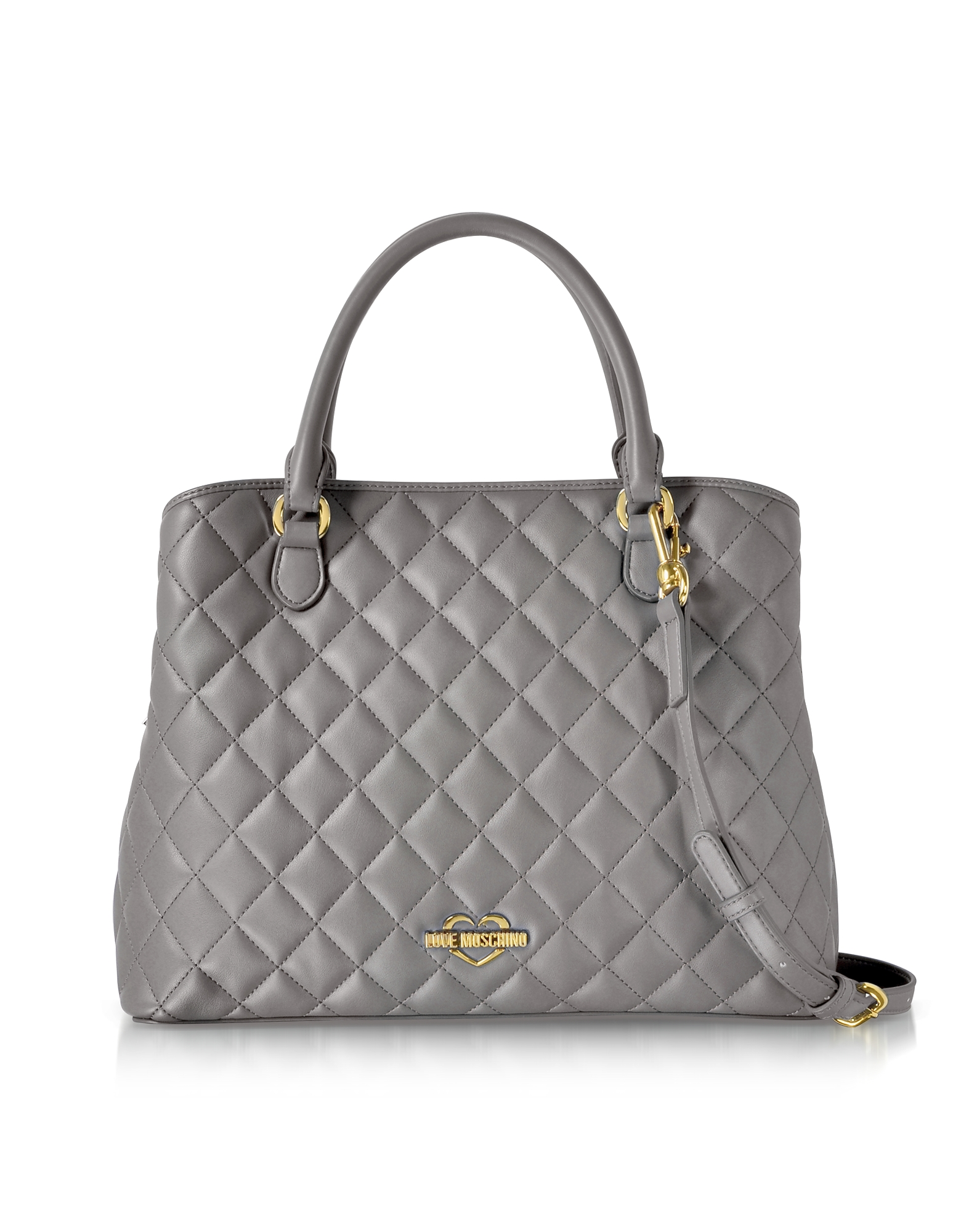 Love Moschino Handbags, Grey Superquilted Eco-Leather Satchel Bag