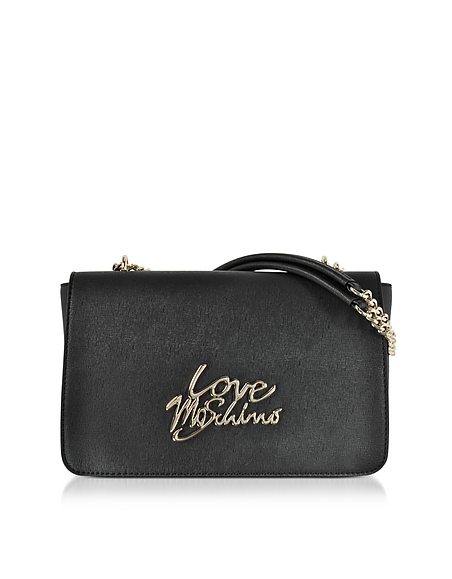 Love Moschino Black Saffiano Eco-Leather Shoulder Bag w Foulard