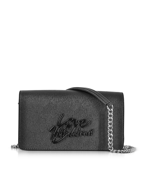 Love Moschino Black Saffiano Eco-Leather Clutch w Foulard