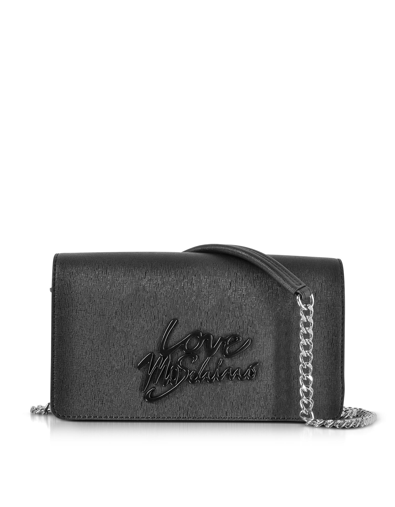Love Moschino Handbags, Black Saffiano Eco-Leather Clutch w/Foulard