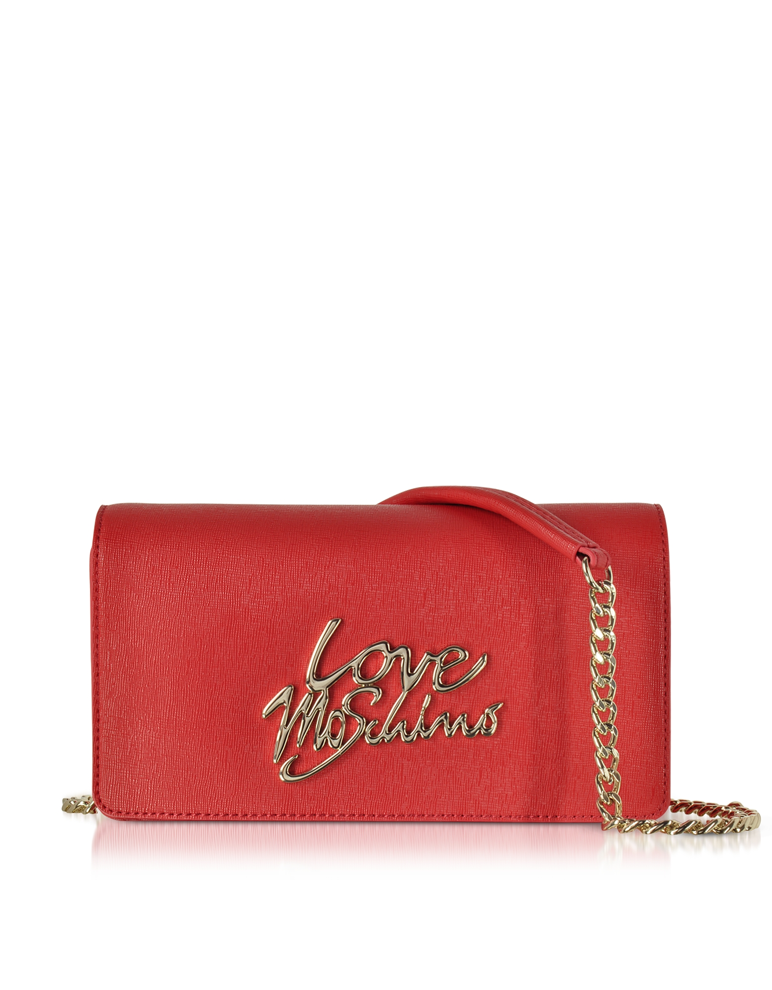 Love Moschino Handbags, Red Saffiano Eco-Leather Clutch w/Foulard