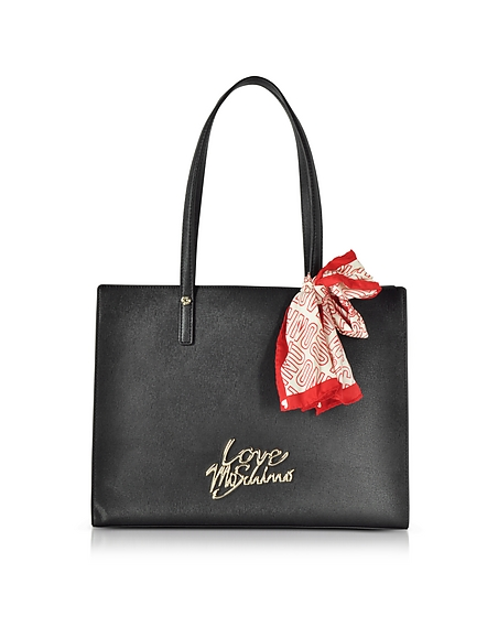Love Moschino Black Saffiano Eco-Leather Tote Bag w Foulard