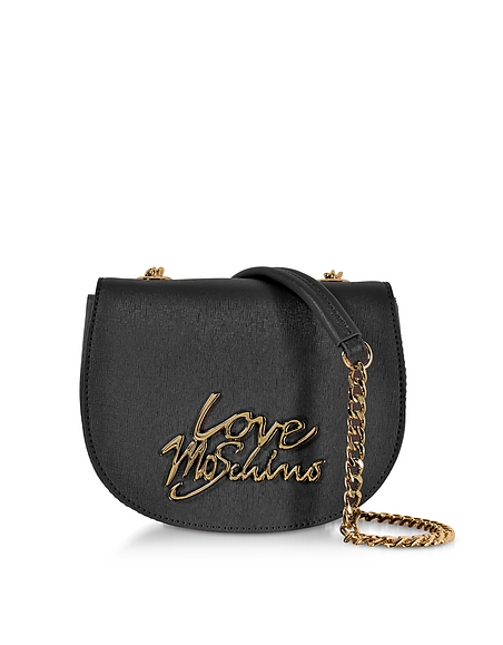 Love Moschino Black Saffiano Eco-Leather Crossbody Bag w Foulard