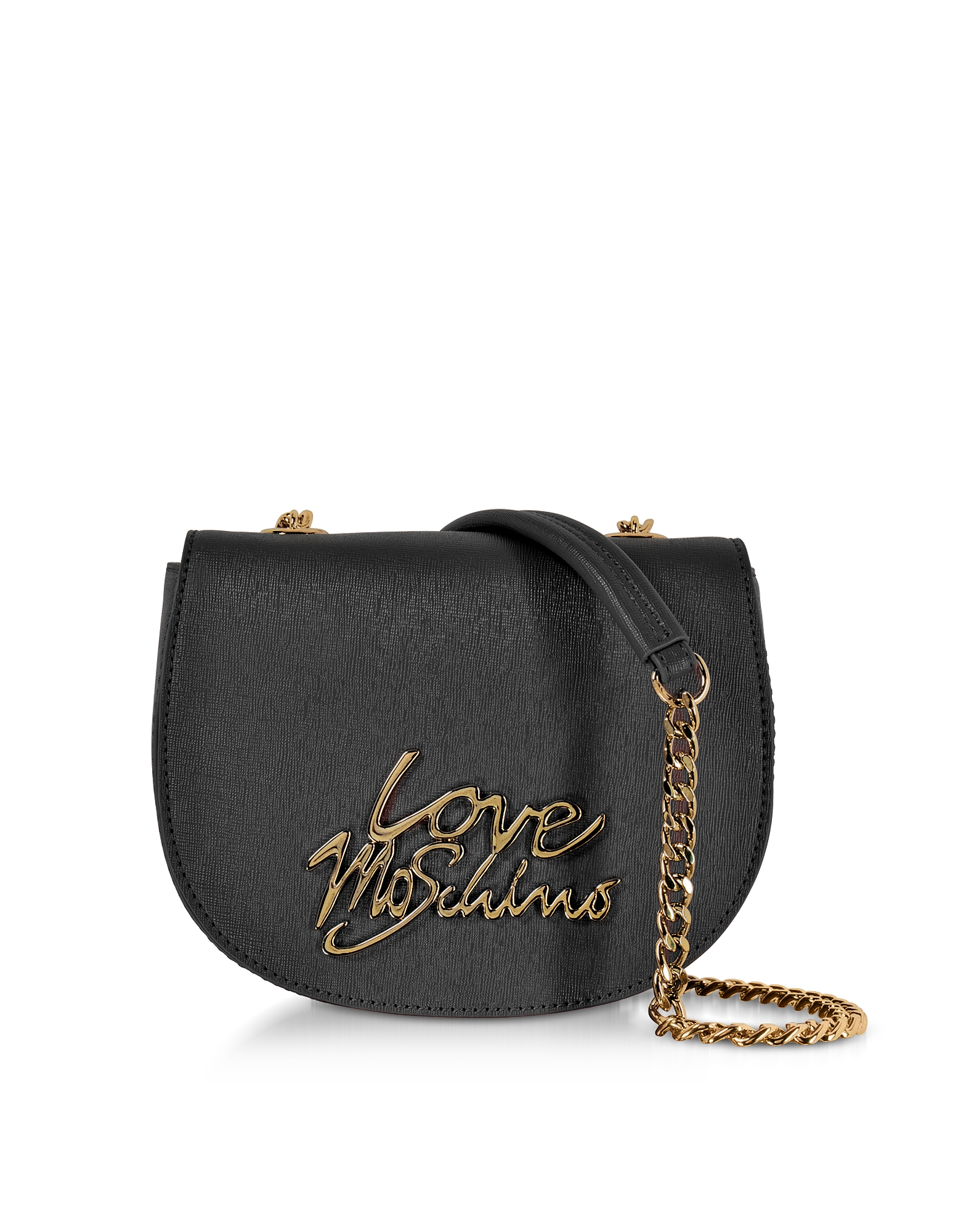 Love Moschino Handbags, Black Saffiano Eco-Leather Crossbody Bag w/Foulard