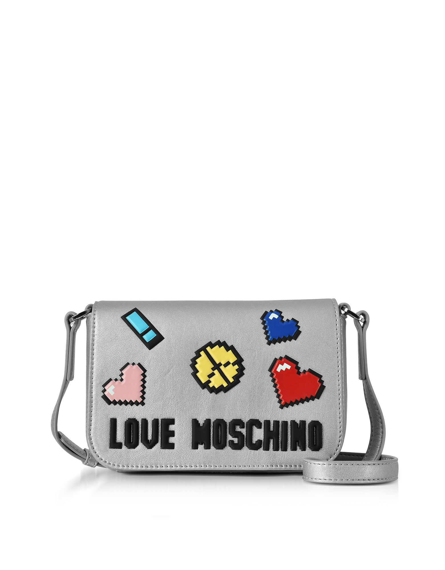 Love Pixel Silver Eco-Leather Crossbody Bag