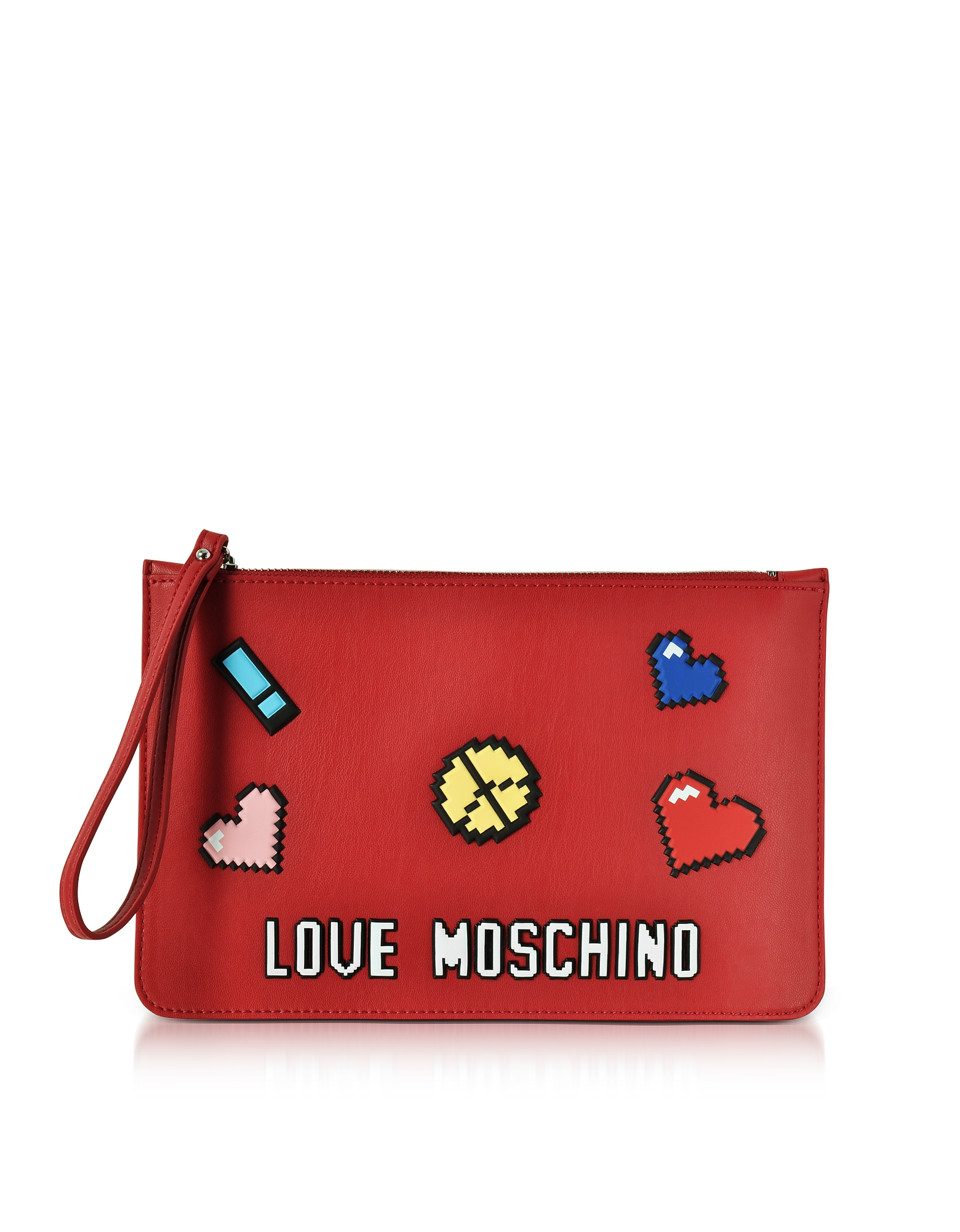 Love Moschino Handbags, Love Pixel Red Eco-Leather Clutch