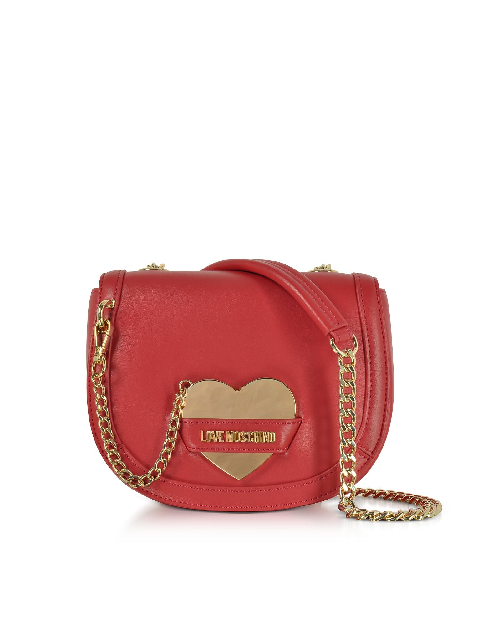 Love Moschino Handbags, Detachable Heart Red Eco-Leather Crossbody Bag