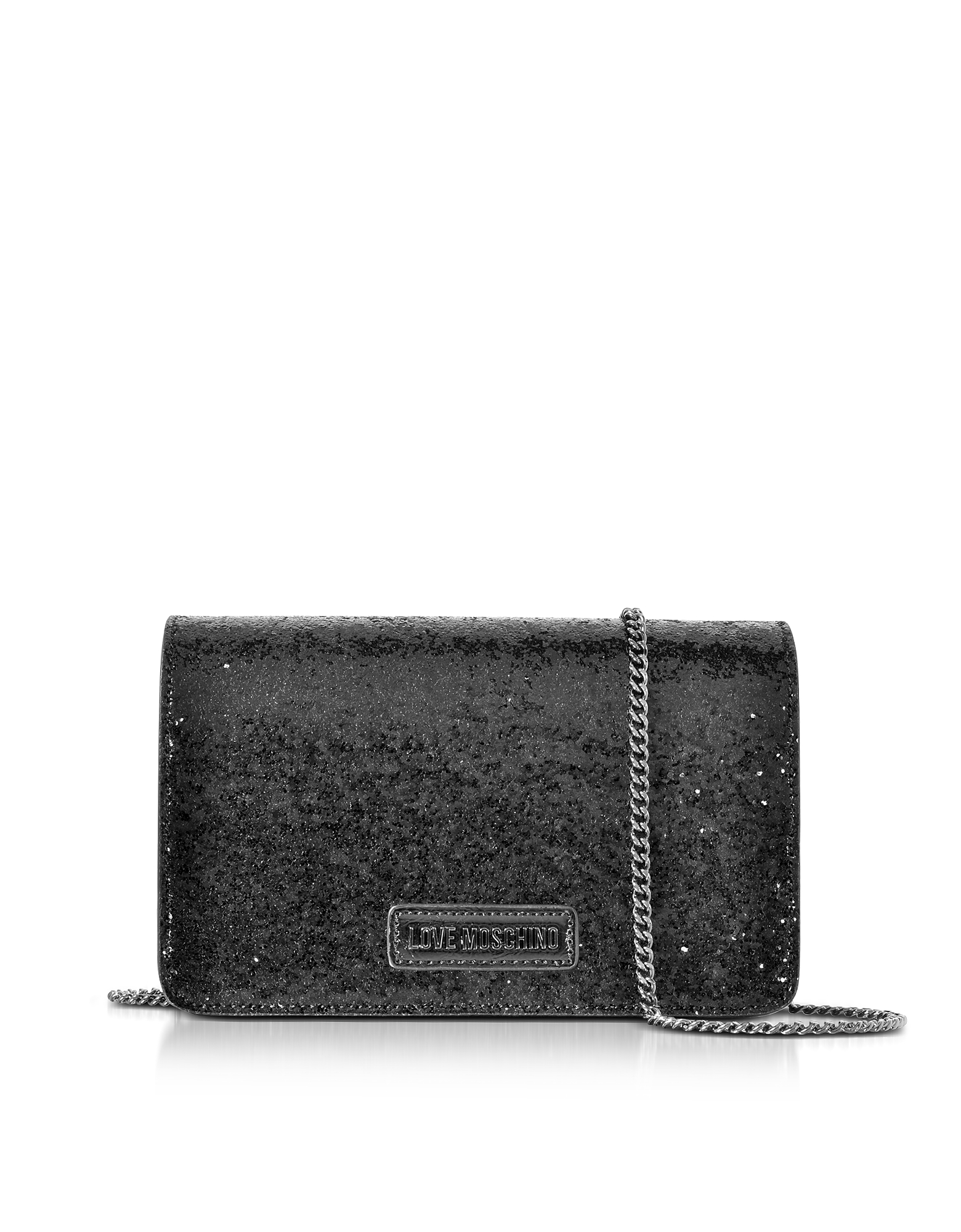 Love Moschino Handbags, Evening Bag Black Eco-Leather Clutch w/Chain Strap