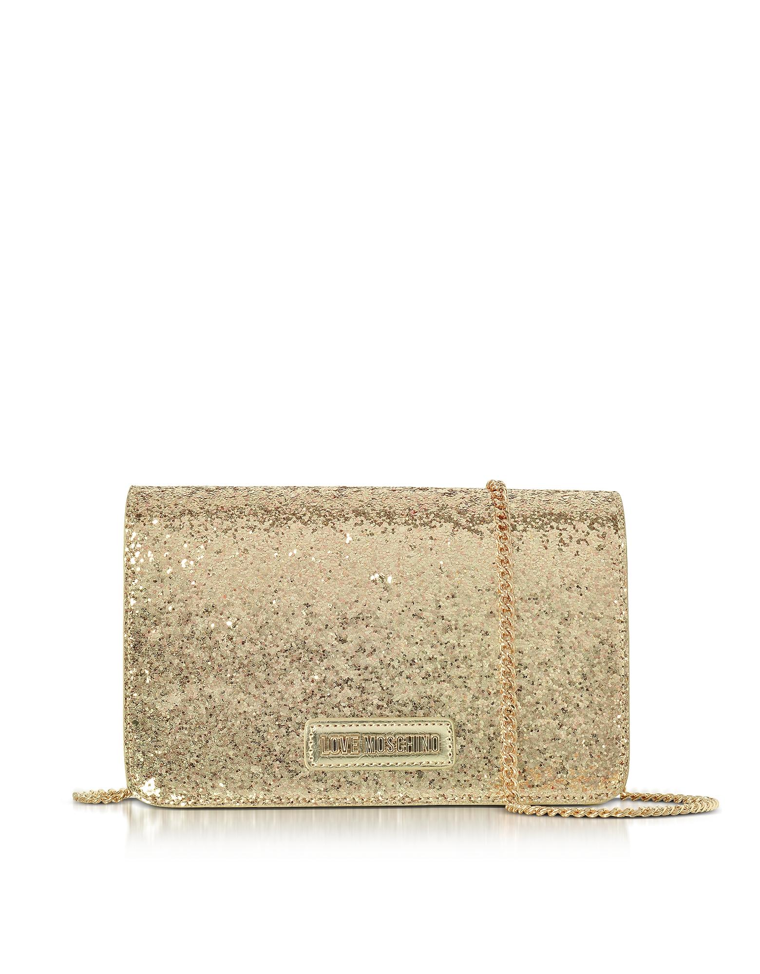 Evening Bag - Золотистый Клатч из Эко-Кожи с Цепочкой на Плечо