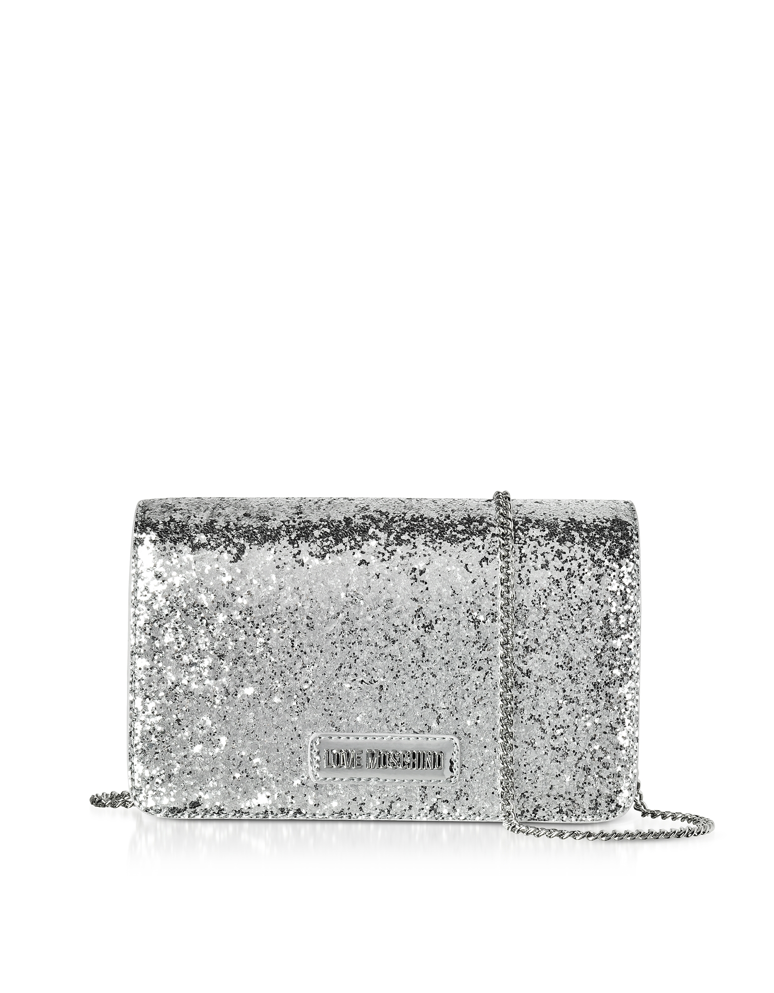 Love Moschino Handbags, Evening Bag Silver Eco-Leather Clutch w/Chain Strap