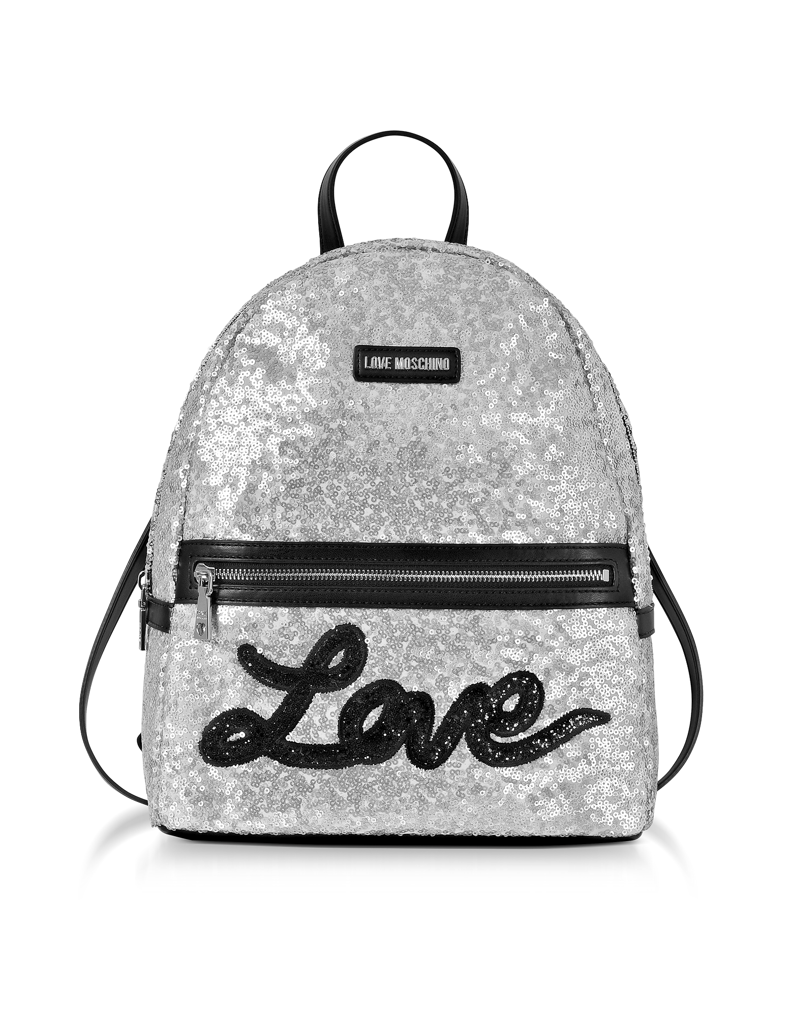 Love Moschino Handbags, Love Sequins Metallic Silver Backpack