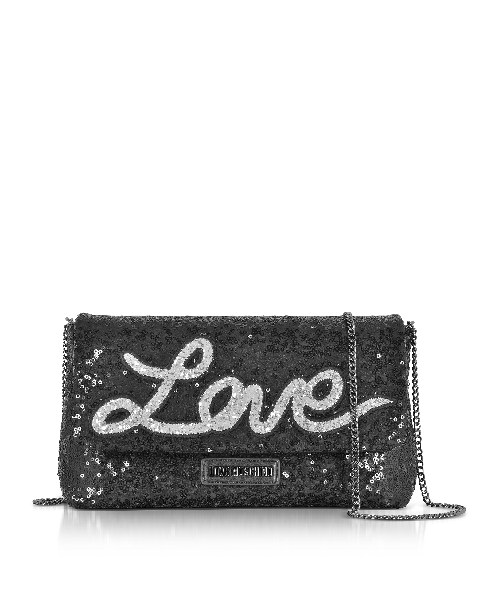 Love Moschino Handbags, Love Sequins Metallic Black Clutch w/Chain Strap