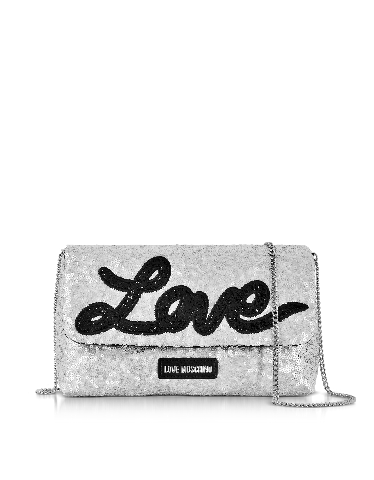 Love Moschino Handbags, Love Sequins Metallic Silver Clutch w/Chain Strap