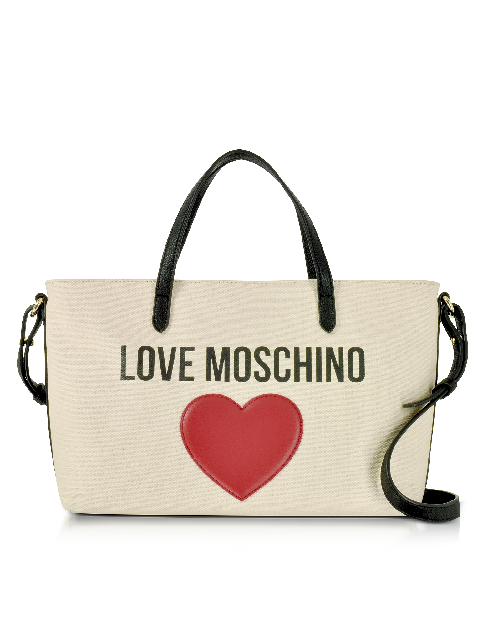 Love Moschino Handbags, Love Moschino & Heart Cotton Tote Bag w/Strap
