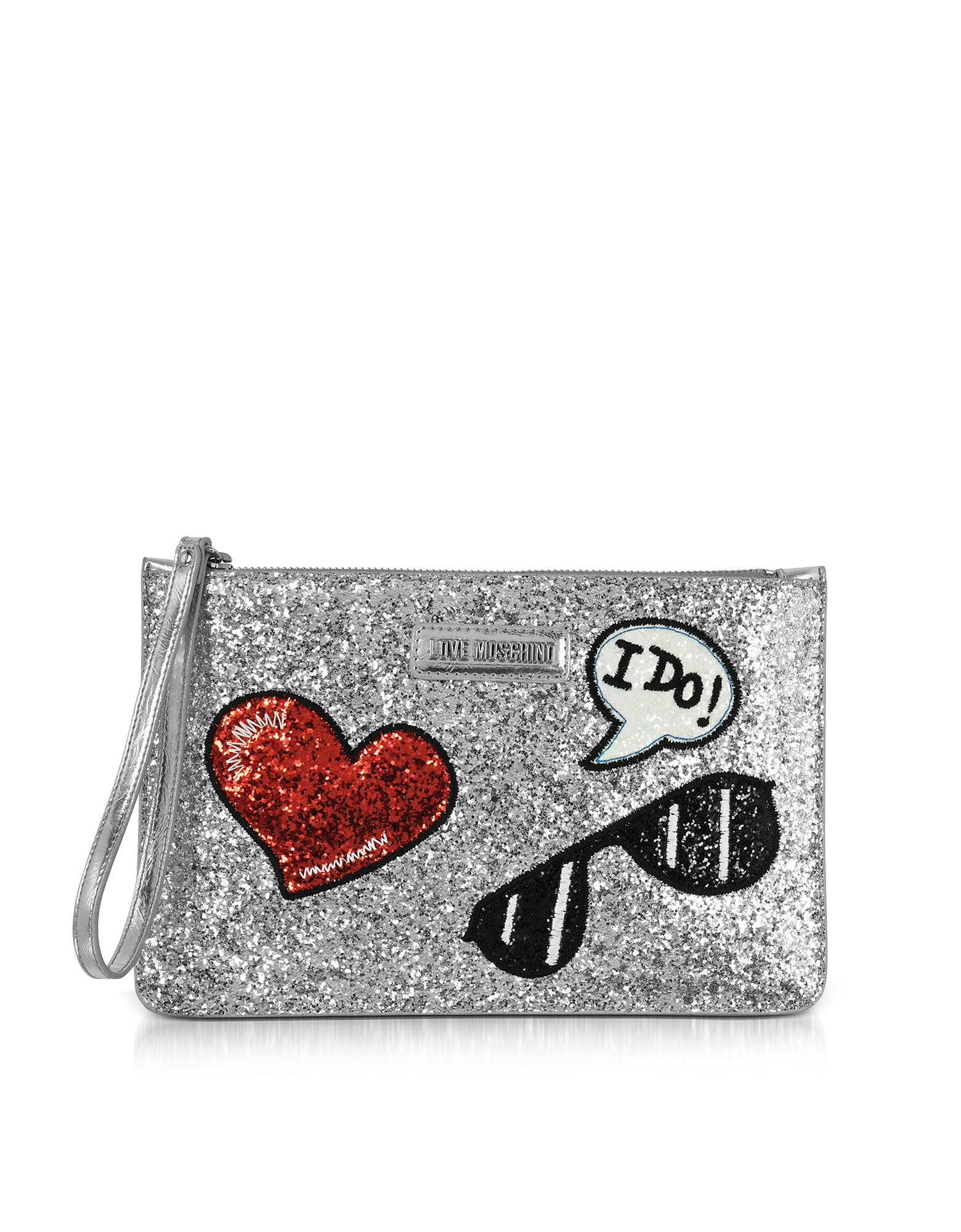 Love Moschino Handbags, Sparkling Metallic Silver Clutch