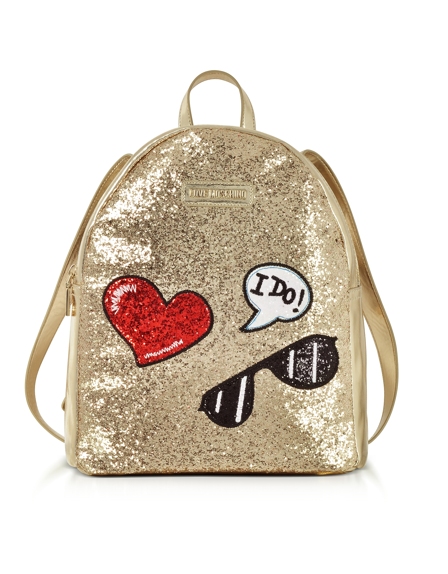 Love Moschino Handbags, Sparkling Metallic Gold Backpack