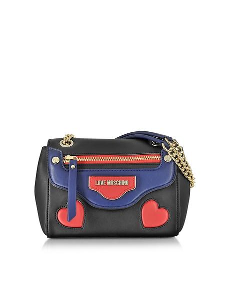 Foto Love Moschino Borsa a Spalla in Eco Pelle Heart Patchwork Borse donna