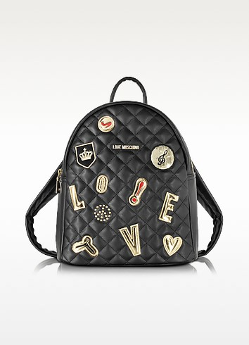 Zaino in Eco Pelle Matelassè con Pins - Love Moschino