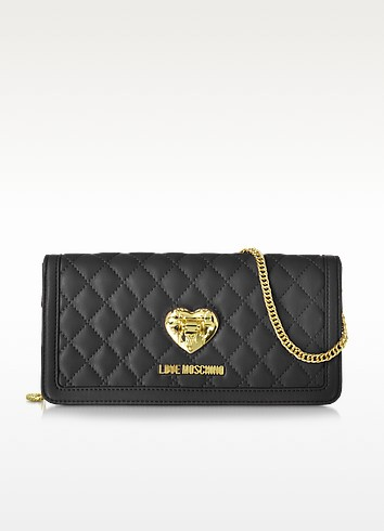 Quilted Wallet On Chain - Love Moschino
