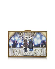Multicolor Printed Box Clutch - Love Moschino