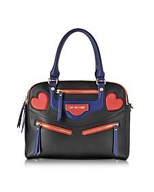 Heart Bike Eco Leather Large Satchel Bag - Love Moschino