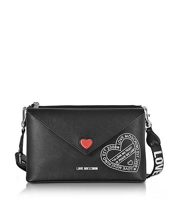 Love Moschino - Pocket Love Black Eco Leather Shoulder Bag