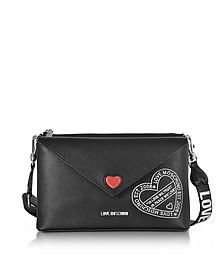 Pocket Love Black Eco Leather Shoulder Bag - Love Moschino