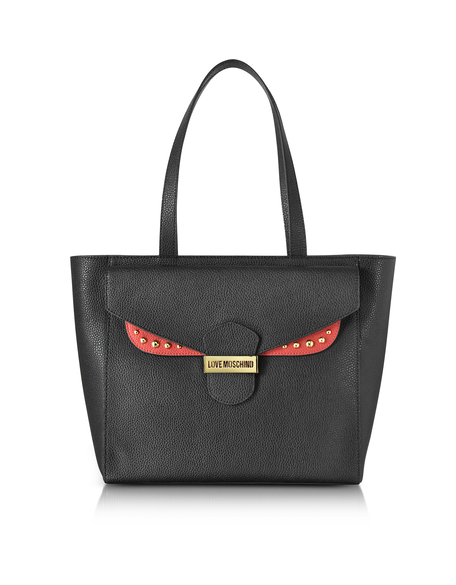 Double Flap Color Block Eco Leather Tote Bag