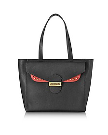 Double Flap Color Block Eco Leather Tote Bag - Love Moschino