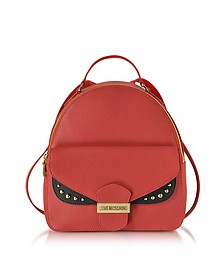 Double Flap Color Block Eco Leather Backpack - Love Moschino