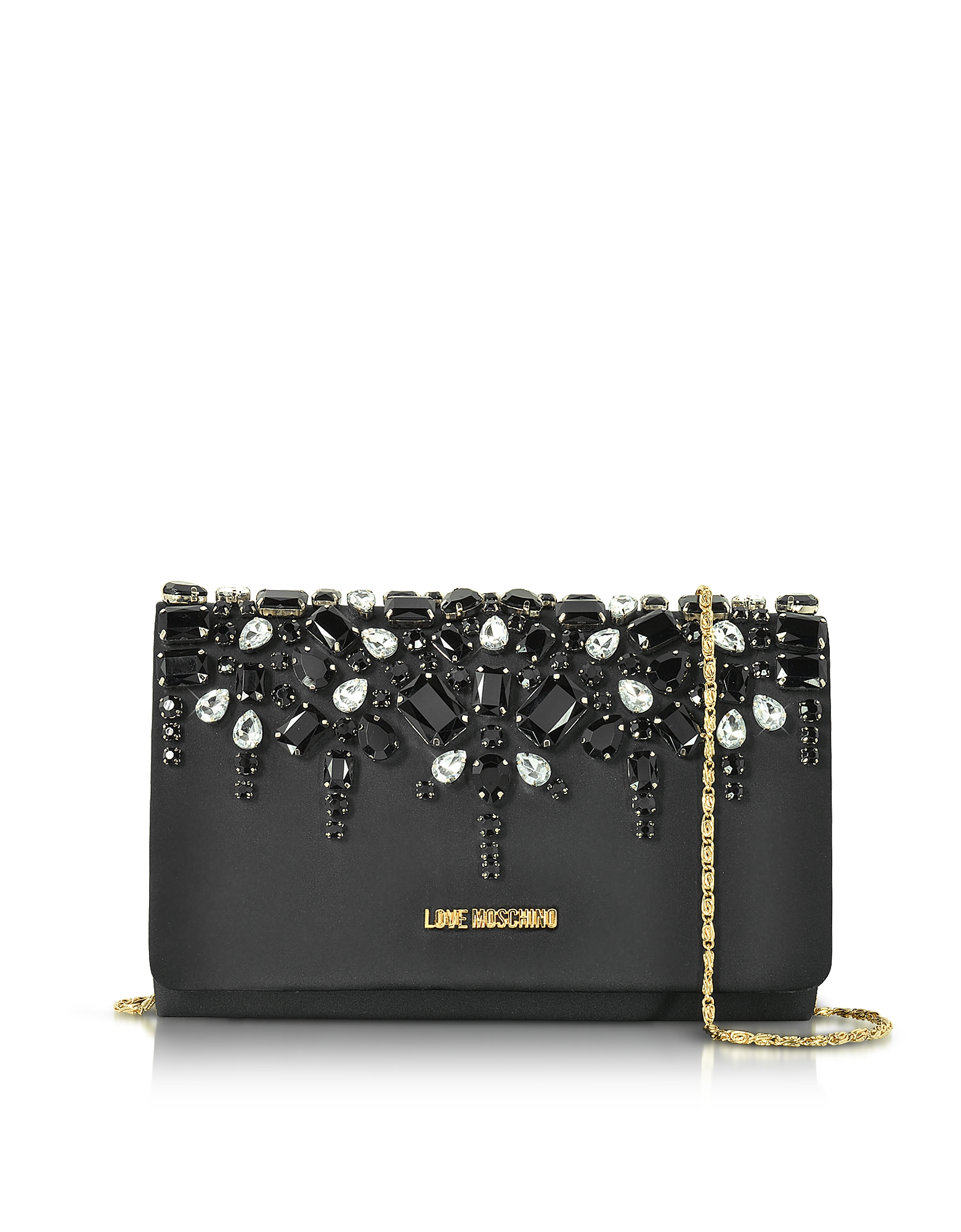 Love Moschino Handbags, Satin and Crystals Evening Clutch w/Chain