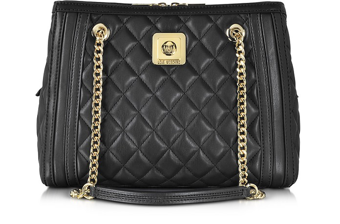 Love Moschino Black Quilted Eco Leather Satchel - Moschino