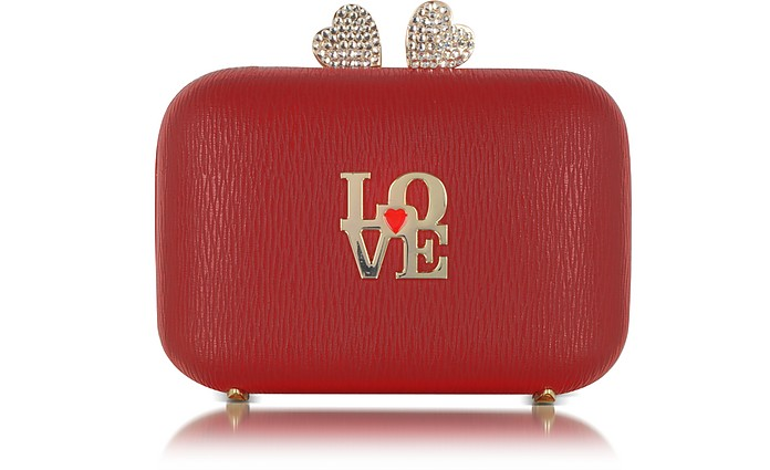 Red Eco Leather Clutch w/Chain Strap - Love Moschino