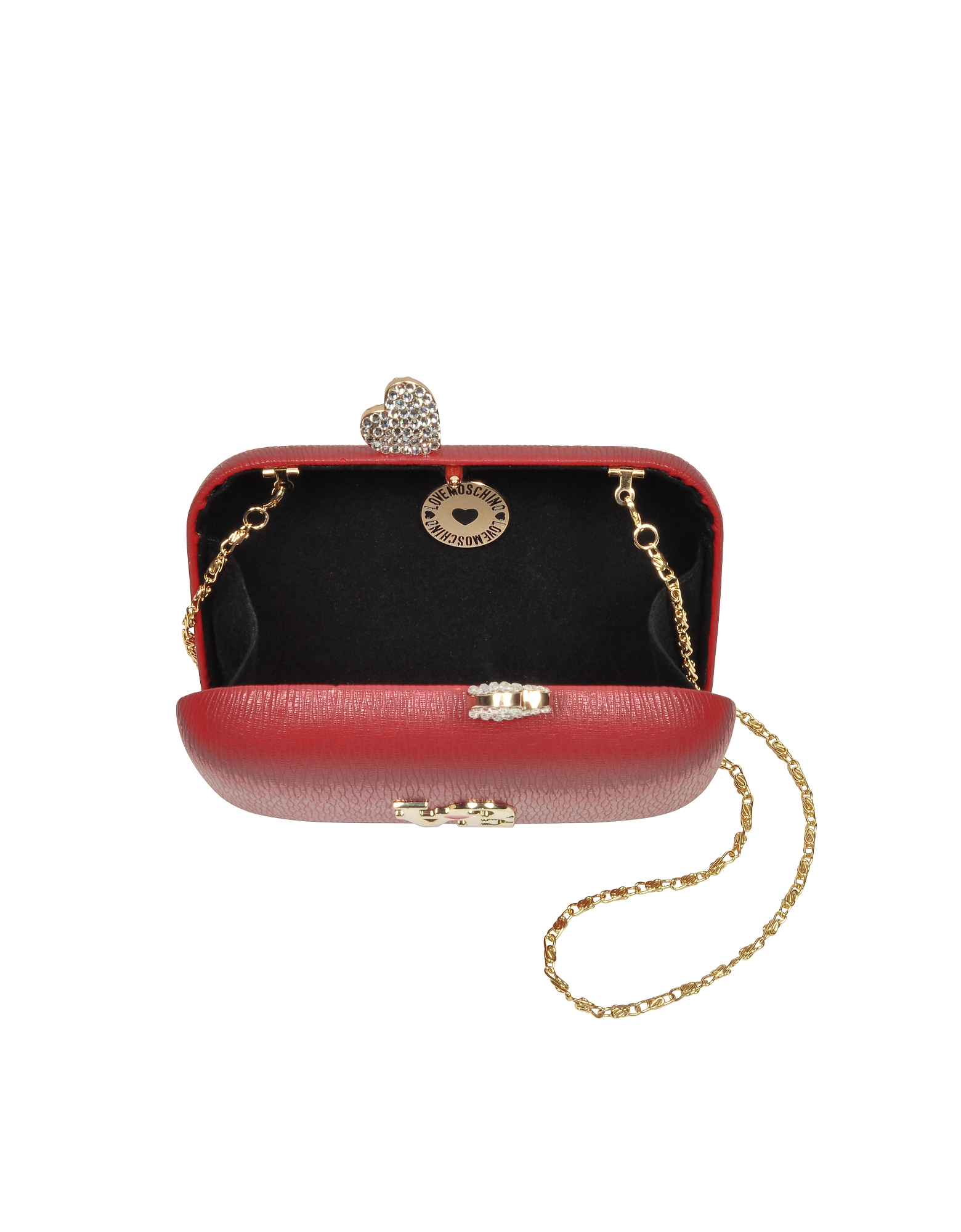 Red Eco Leather Clutch w/Chain Strap от Forzieri.com INT