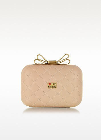 Quilted Eco Leather Clutch w/Chain Strap - Love Moschino