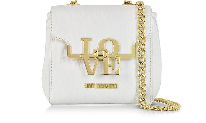 White Eco Leather Crossbody Bag - Love Moschino