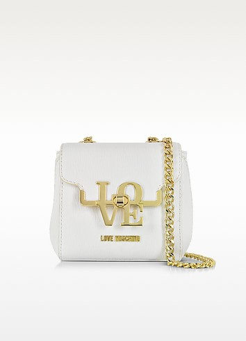 White Eco Leather Crossbody Bag - Love Moschino