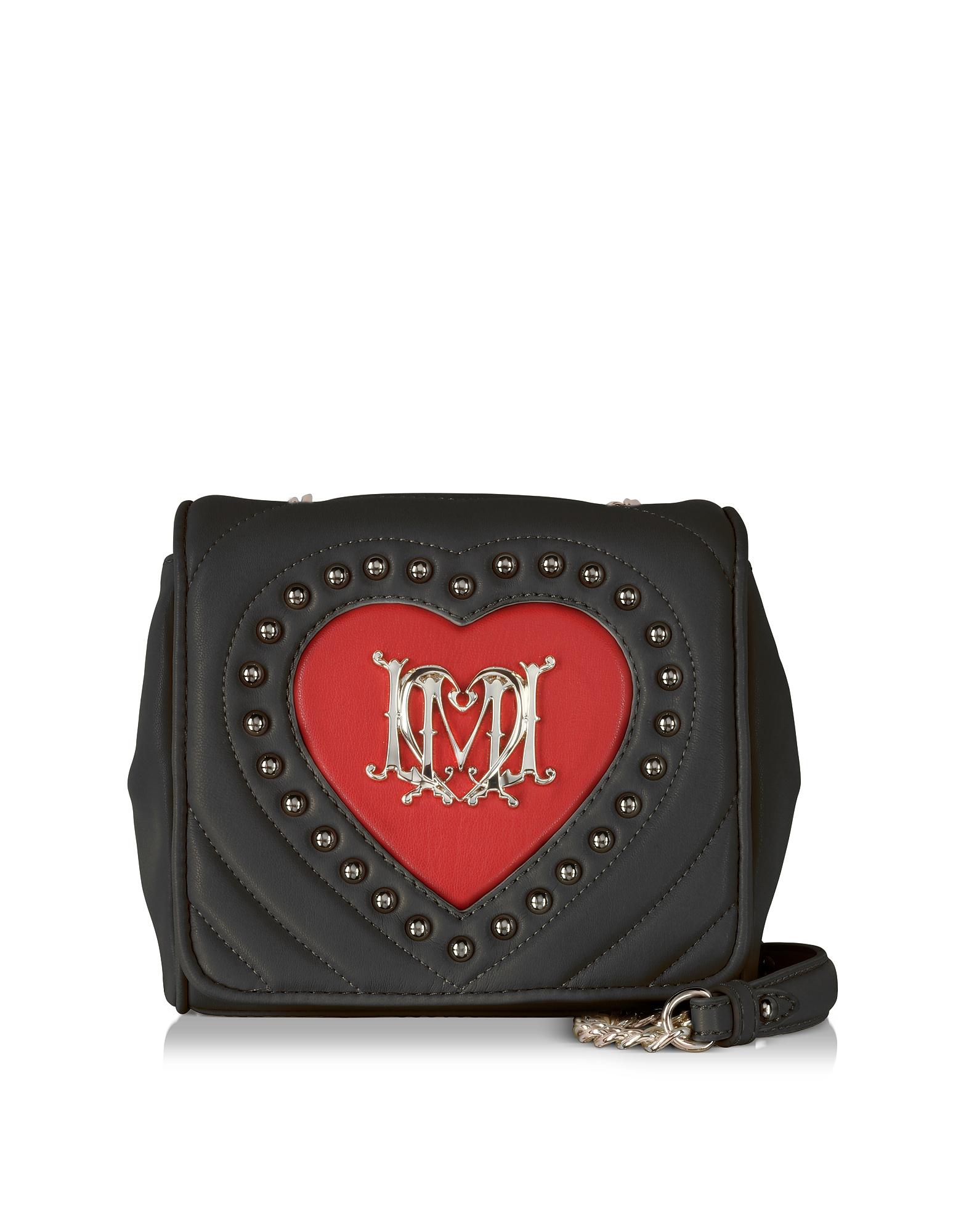 Love Moschino - Черная Стеганая Сумка через Плечо из Эко-кожи с Красным Сердцем