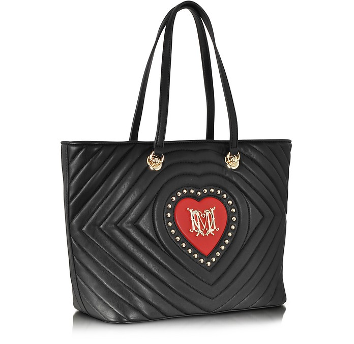 Love Moschino Black Quilted Amp Red Heart Eco Leather Tote