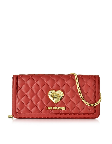 Love Moschino Red and Black Quilted Wallet On Chain