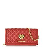 Love Moschino Heart Pochette/Portafoglio in Eco Pelle Matelassè Rosso/Nero - love moschino - it.forzieri.com